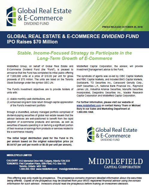 Global Real Estate & E-Commerce Dividend Fund IPO